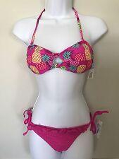 California Waves Bikini Set Size S Key Hole Bandeau  Top Side Tie Bottom