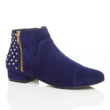 Stivali alla caviglia da donna blu con cerniera