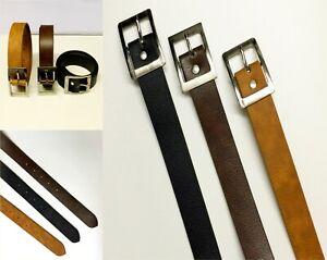 Mens PU Synthetic Leather Belts Buckle Belt Jeans Office Dress Black Brown Tan