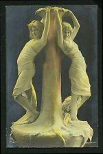 German 1905 Two Draped WOMEN As LIVING SCULPTURE Art Nouveu Hand Tinted Surreal