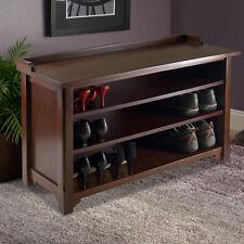 Storage Bench Shoe Shelves Organizer Entryway Living Room Bedroom Furniture Wood