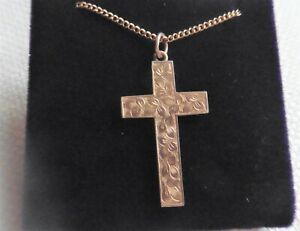 Antique 9ct Rose Gold Engraved Large Size Cross With Chain