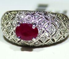 1.87CT 18K Gold Natural Ruby Cut Diamond Halo Vintage Engagement Ring Retro Deco