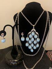 Vintge Trifari Waterfall Apple Dangle Necklace Earrings Set Rare Baby Blue