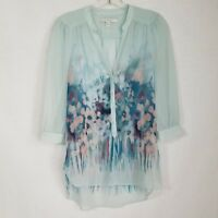 LC Lauren Conrad Womens Blouse Blue Floral Sheer 3/4 Sleeve V-neck Size XS SD306