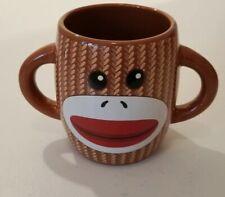 Sock Monkey Gallerie Ceramic Coffee Cup Mug 16 oz Brown Double Handle