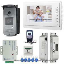 "Wired 7"" Video Door Phone Intercom System+RFID Card Keypad Camera+Drop Bolt Lock"