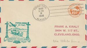 1938 USA cover First Flight from Fairbanks to White Horse