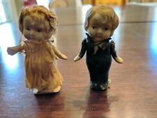 "Antique Pair Bride and Groom 3"" Porcelain/Bisque Dolls"