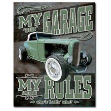 Sign - My (Our) Garage - My (Wife's) Rules Novelty Sign Hot Rod Man Cave Garage