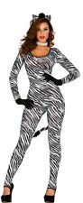 Ladies Sexy Zebra Print Animal Wildebeest Jumpsuit Fancy Dress Costume Outfit