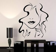 Vinyl Wall Decal Beauty Hair Salon Girl Lips Nails Makeup Stickers (1121ig)