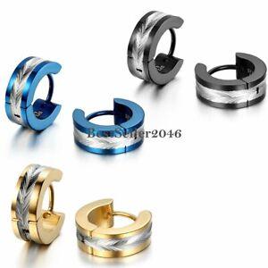 2pcs Shiny knurling Pattern Stainless Steel Mens Women Hoop Huggie Stud Earrings