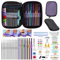 100pcs Multi-color Aluminium Crochet Hooks Knitting Needles Sewing Tools Set #UK