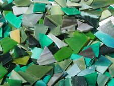 """""""100g - Mixed Greens O"""" Handcut Stained Glass for MOSAIC & Glass Crafts"""
