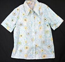 Vintage 70s NOS Deadstock Blue Floral Print Big Collar Shirt Blouse Plus Size 2X