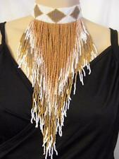 $98 Panacea Tan/White/Goldtone Beaded Seed Beads Fringe Tribal Choker Necklace