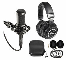 Audio Technica AT2035 Cardioid Condenser Studio Microphone/Mic+Case+Headphones