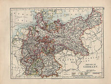 1901 VICTORIAN MAP ~ EMPIRE OF GERMANY WITH MINOR STATES BAVARIA POSEN HANOVER
