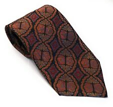 Stefano Ricci Men's Luxury Silk Tie Black Orange Red Paisley EUC