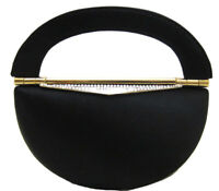 Black Satin Gold Metal Evening Bag with Swarovski Crystal Clasp
