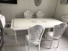 VERSACE DESIGN WHITE/SILVER ITALIAN HIGH GLOSS DINING TABLE & 6 DIAMANTÉ CHAIRS