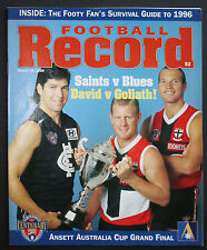 1996 Ansett Cup Grand Final St Kilda vs Carlton Football Record unmarked