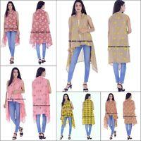 Frauen Baumwolle Floral Kimono Beach lange Bluse indische handgemachte Jacke