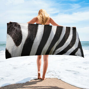 Zebra Stripes Beach Towel African Themed Black and White