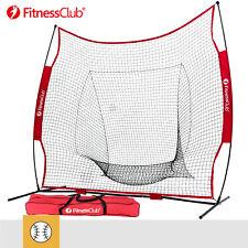 7×7' Baseball Softball Practice Hitting Batting Training Net Bow Frame Red Bag