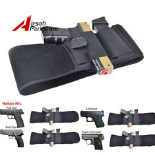 Tactical Military Invisible Elastic Belly Band Waist Pistol Gun Holster Belt BK