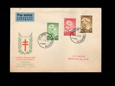 Finland Air Mail Fdc Tuberculosis Set Helsinki 1949 Cover to Usa 9k