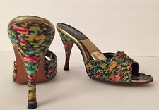 50's Springolators Vintage Floral Silk Pin Tuck Pleated Glamour Shoes 4� Heels