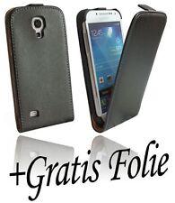 Zubehör für Samsung Galaxy S4 Mini i9195 Klapptasche Tasche + Folie // Schwarz