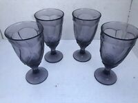 Noritake SWEET SWIRL Lilac Water Goblet Glass Set of 4 Purple Amethyst Glasses