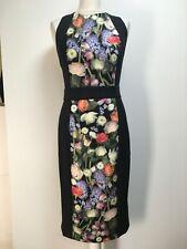 NWT Ted Baker Akva Kensington scuba pencil dress black floral panel strappy 3 12