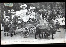 LE HAVRE (76) ATTELAGE VOITURE à CHEVRES en trés gros plan animé début 1900