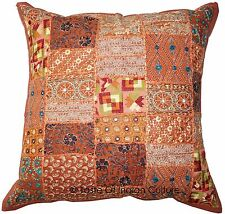 "Indian Vintage 24x24"" Brown Cushion Cover Patchwork Pillow Sofa Throw Home Decor"