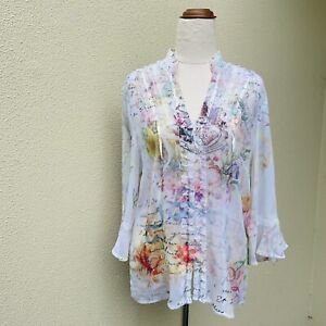 SEVEN SISTERS Paris Floral  Boho Print ¾ Sleeve Ribbons Blouse Top Size 3