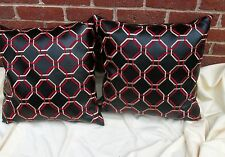"""2 Black Accent Pillows Faux Leather Red Embroidery Throw Down Cushion 21 by 21"""""""