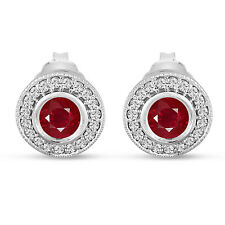 Platinum Ruby And Diamonds Stud Earrings 0.90 Carat Micro Pave and Bezel Set