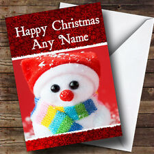 Big Eyed Snowman Christmas Greetings Card Personalised