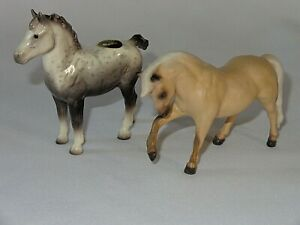 2 Hagen Renaker Small Horse Figurines Spotted & Brown