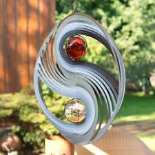 Edelstahl Windspiel YINYANG, Ø: 30cm, Kugel-Ø: 2x5cm, mit Aufhängung