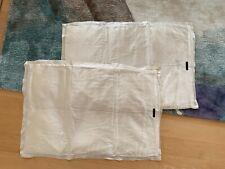 (2) Donna Karan Ivory Silk Charmeuse Quilted Pillow Shams - Standard/Queen