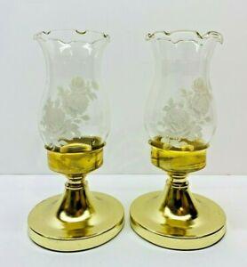 "Vintage Set Of 2 Gold Tone Rose Pattern Hurricane Candle Stick Holders 6"""