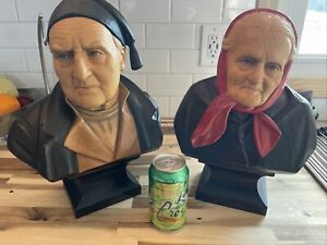"2 Large 14"" Huggler Wyss old couple busts wood carvings signed F Fuchs"