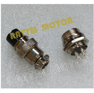 2Pcs GX16-4 Aviation Plug Male Female and Panel Metal Connector Silver 16mm 4pin