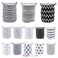 Foldable Baby Kids Toy Cloth Storage Bucket Laundry Basket Organizer Bag Hamper