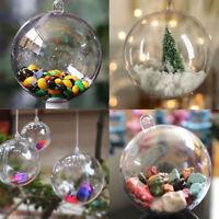 10PCS Clear Plastic Craft Christmas Tree Ball Baubles Ornament Xmas Decor 4-10cm